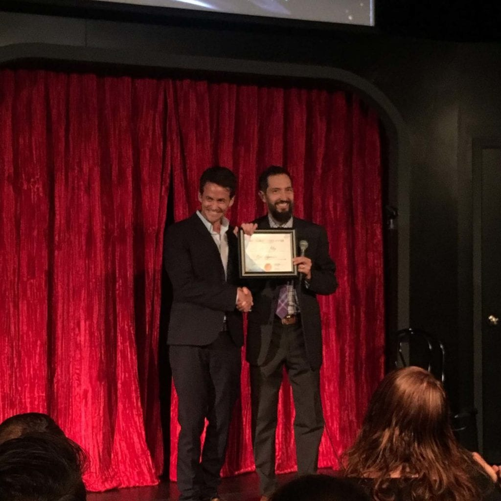 Accepting The Award For Best Improvisor At Third Coast Comedy Club
