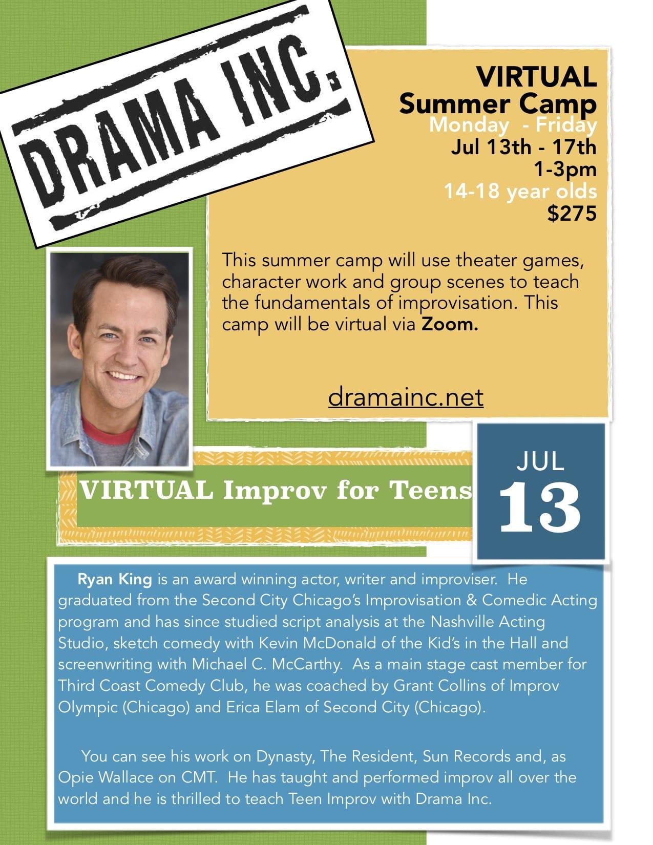 Teen Improv Virtual Summer Camp